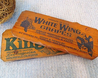 Vintage Wooden Signs Made From Wine Crates Winery Rustic Wine Decor Wood Signs King Leo and White Wing Wine Signs