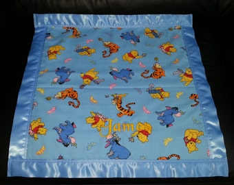 Winnie the Pooh Tigger Eeyore Piglet Cotton/Fleece Car Seat Blanket 22x22 Personalized