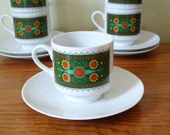 Vintage Schumann Arzberg Floral Coffee Cups Saucers Set of 6 Mid Century Coffee Cups Tea Cups Espresso Demitasse Bavaria Germany 60s Teacups