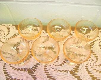 6 Pink Depression Champagne / Tall Sherbet Glasses Fruits pattern by Hazel Atlas