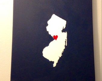 "New Jersey Love Painting - 11x14"" canvas - Customized and hand painted"