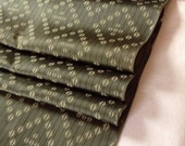 Rich olive green and light olive green - matte and satin - diamond design - Vintage Japanese Kimono Silk