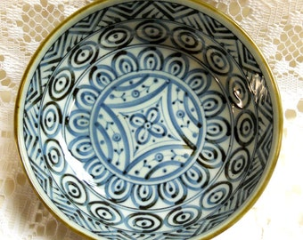 Intricately, hand painted bowl or pin dish, blue and brown glazes