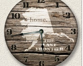ALASKA Home State Wall CLOCK  - Barn Boards pattern  - The Last Frontier - rustic cabin country wall home decor