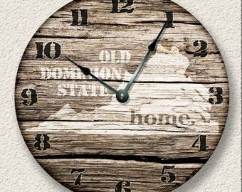 VIRGINIA Home State Wall CLOCK  - Barn Boards pattern  - Old Dominion State - rustic cabin country wall home decor