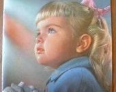 Vintage Ideals Easter Book Plate Blond Girl Child Praying Sunday Bible Church Kitsch Ephemera White Gloves Midcentury Illustration Frame