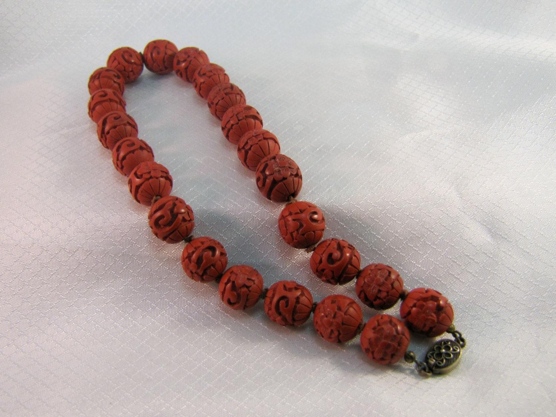 vintage carved cinnabar bead necklace 16 necklace