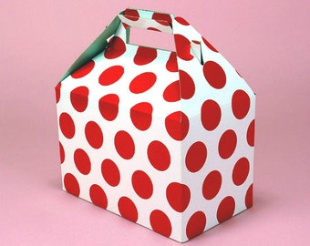 "10ct. WHITE & RED Polka Dot Large Size Gable Gift Boxes Tote Containers 9"" x 6"" x 6"" (Free Shipping!)"