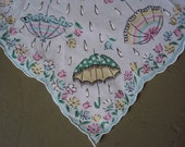 Vtg. Scalloped Hanky Spring Showers Umbrellas