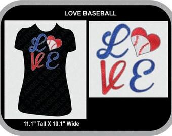 Love Heart  baseball or softball glitter vinyl shirt