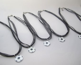 Set of 5 Soccer Ball Charm Necklace Favors- Girl Soccer Party Favors