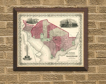 Washington DC map - Georgetown map - Old map print -  City of Washington  DC  - map reproduction  - 16 x 20""