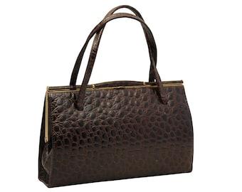 Vintage, Brown Leather Purse, Handbag, Top Handle Bag,1950's