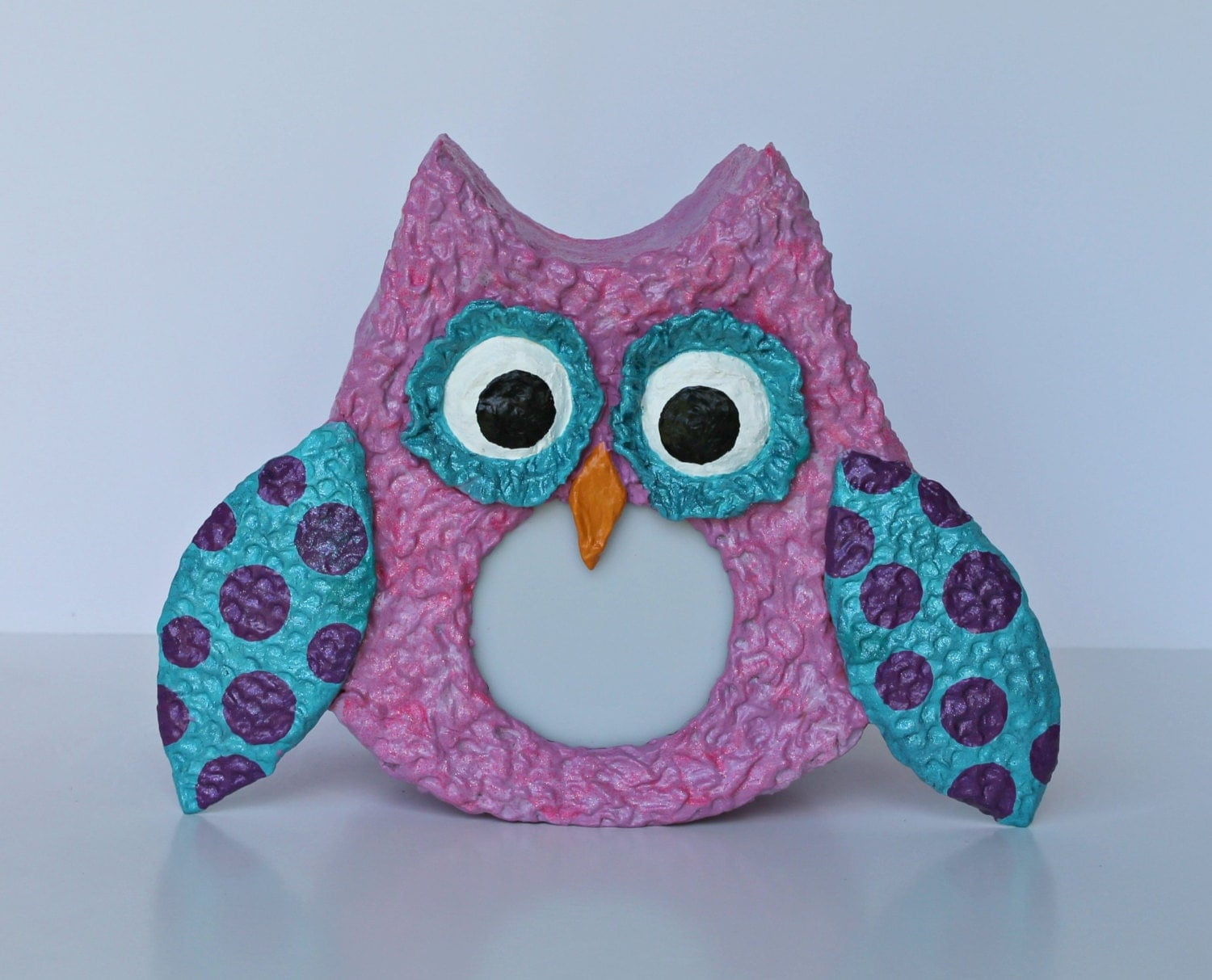 Owl Night Light Pink With Blue Wings With Purple Polka Dots