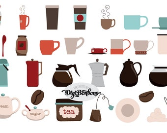 Coffee digital clipart, INSTANT DOWNLOAD,  coffee and tea graphics, carafe, mugs, coffee beans, Commercial Use License Included!