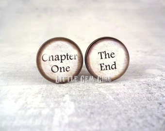 Book Lover Cuff Links - Chapter One The End Cufflinks - Antique Bronze, Silver, Gold, Library Reader - Gifts for Author Writer Wedding