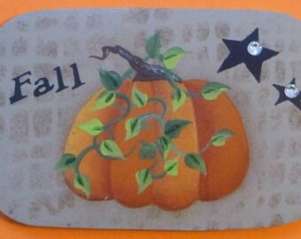 Fall Pumpkin Pin/Magnet Hand Painted Wood
