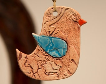 Ceramic Hanging Bird Ornament...