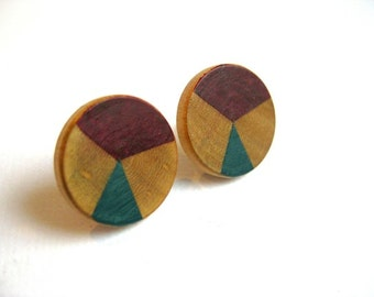 Wooden earrings with geometric pattern in teal and burgundy