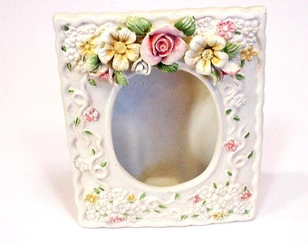 Ceramic Picture Frame,Self Standing Vintage Floral 3 x 5 Open Photo Frame,Cottage Chic Home Decor,Feminine,Sculptured Flowers itsyourcountry