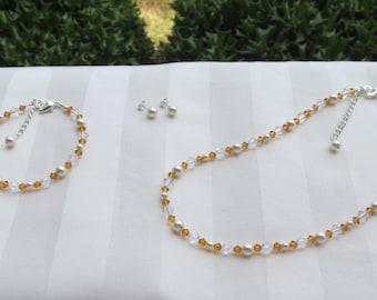 Flower Girl Jewelry Ivory Swarovski Pearls and Topaz Crystals Bridal Jewelry Set