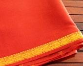 Half Yard-Rust Art Silk Sari Fabric-Gold Brocade Design Border-Recycle Silk Fabric-Silk Ribbon Border-Table Runner-Sari Quilt Fabric