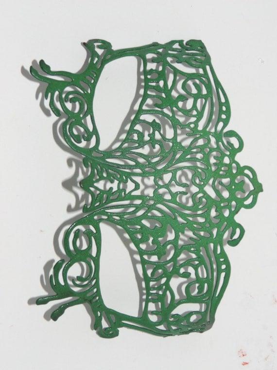 Masquerade Mask - Green Masquerade Mask - Green Mask - Green Metal Mask - Handmade Metal Mask - Metal Masquerade Mask - Green Natures Mask