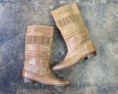 13 D Men's BOOTS / Vintage Tall Tawny Leather Boots / Men's Shoes