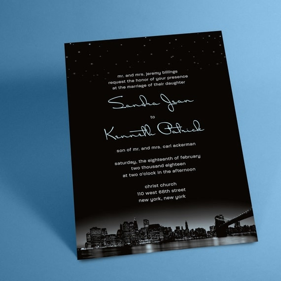 New York City Skyline Wedding Invitations with Night Stars, New York Wedding, City Skyline Invites. NYC or You May Choose Another City