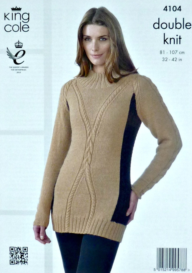 Womens Knitting Pattern K4104 Ladies Long Sleeve High Neck 2 Colour Cable des...