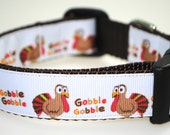 "Gobble Gobble Turkeys 1"" Adjustable Dog Collar - Limited Availability"