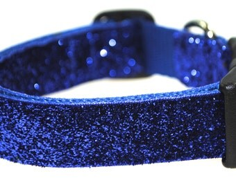 "Royal Blue Glitter 1"" Width Adjustable Collar"
