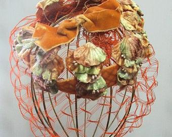 Vintage Orange, Green, Brown, & Yellow Velvet Leaves and Netting Hat Dressy Velvety Leaves
