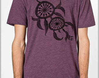 Men's T Shirt DreamCatcher Feathers Dream Catcher American Apparel Shirt Hand Printed Tshirt xs, s, m. l. xl Spring 2015