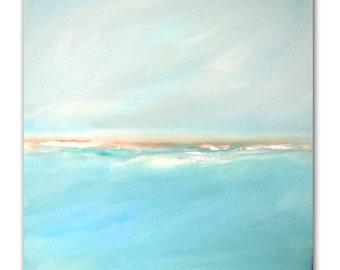 "Painting Acrylic Original, Pearl Skies, Coastal Abstract Seascape- 20"" x 20"""