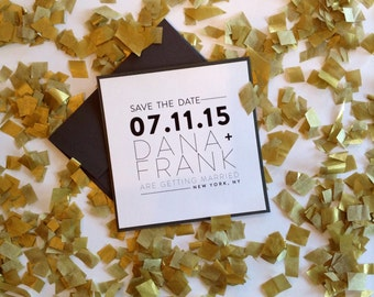 Modern Square Save the Date with Dark Envelopes