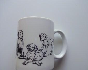 Vintage Dalmatian Dog Coffee Mug 1988