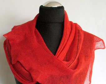 Linen Scarf Red Infinity Scarf Cowl Wrap