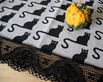 "Linen Tablecloth Burlap Halloween Cat Black Natural Gray Linen Lace 62"" x 62"""