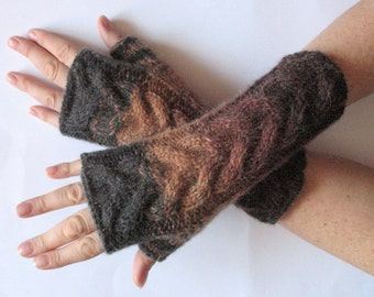 Brown Fingerless Gloves Dark Gray Beige wrist warmers