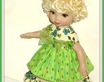 """Handmade Doll Clothes for 10"""" Tonner Patsy Doll, Ann Estelle and Friends, Dress and Skirt Outfit in Spring Greens Cotton"""