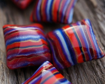 Polymer Clay Square Pillow Beads Persian Carpet  Bright Stripes