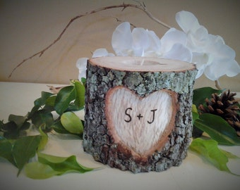 TREASURY ITEM - Wedding candle - Tree branch candle - Heart candle - Wood Candle - Unity candle - Anniversary