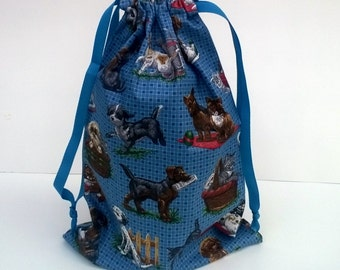 Puppies Kittens Large Drawstring Upcycled Fabric Gift Bag , Reusable 10 X 13 Inches