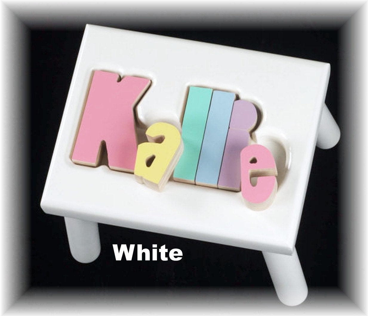 White Name Puzzle Stools
