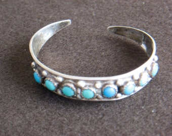 Sterling Silver and Turquoise Navajo Bracelet