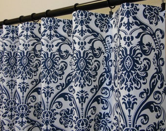 Navy Blue White Abigail Damask Curtains, Rod Pocket Top in 63 72 84 90 96 108 120 Long by 24 or 50 Wide