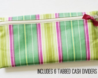 Cash envelope system budget wallet with 6 tabbed dividers | turquoise, pink, green stripes designer laminated cotton fabric