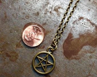 Heyltje Rose Antiqued Brass Pentagram Necklace 666 Satan Beelzebub Devil