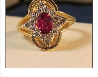 RESERVED for Jessica -Fine Vintage 14k Oval .85 carat Ruby Halo Diamond Ring
